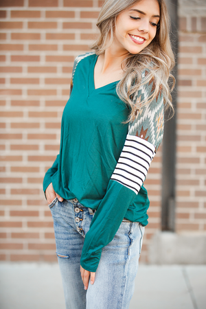 Traditions Long Sleeve Hunter Green Top with Aztec Details