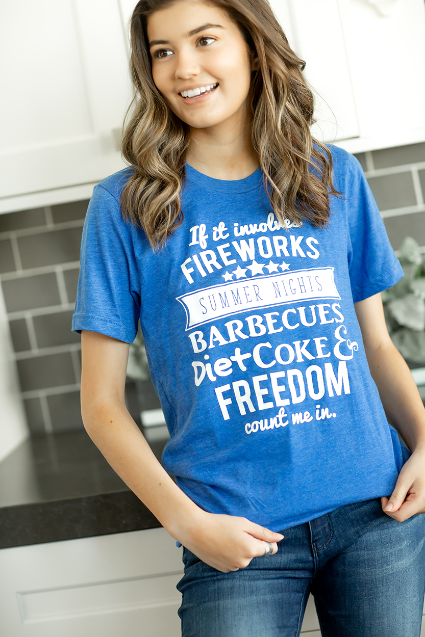 Freedom Rings Graphic Tee in Royal Blue (SALE)