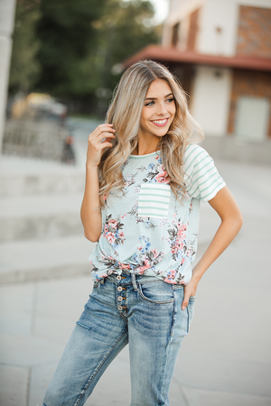 Southern Nights Mint Stripe and Sage Floral Top