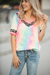 Stay with Me Multi Color Tie Dye with Animal Print Detail Top