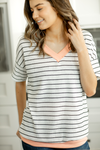 Test The Limits Striped Top in White and Peach