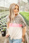 Back Again Color Block Top with Animal Print and Neon Pink