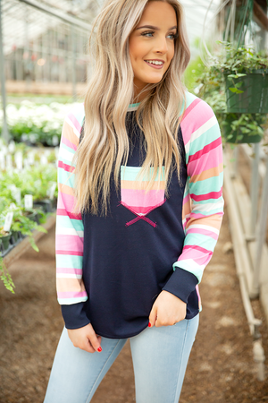 Just In Time Multi Colored Long Sleeve in Navy and Pink