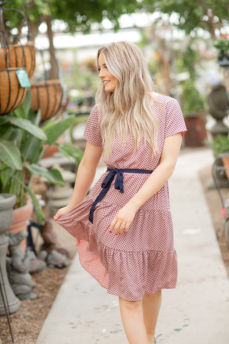 How About It Polka Dot Dress in Blush