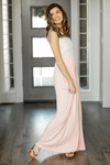 Honestly Yes Maxi Dress with Lace in Blush and Ivory