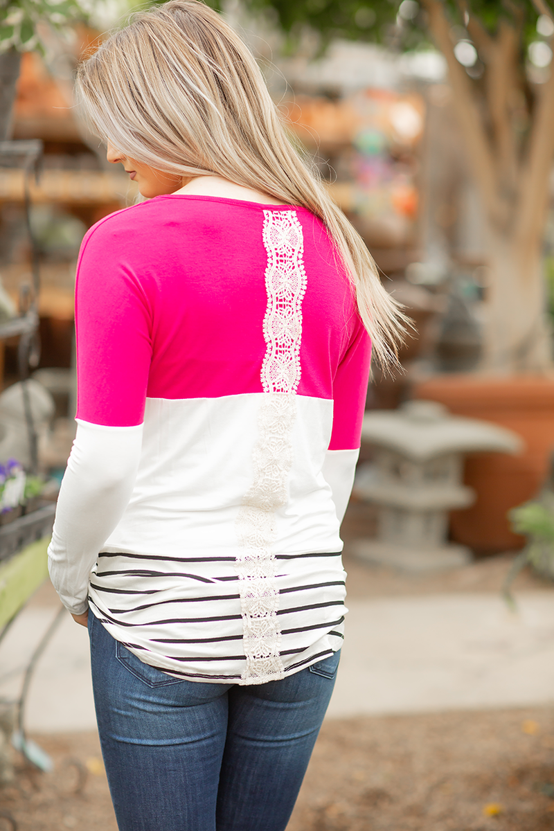 Play Date Striped Top in Hot Pink with Lace