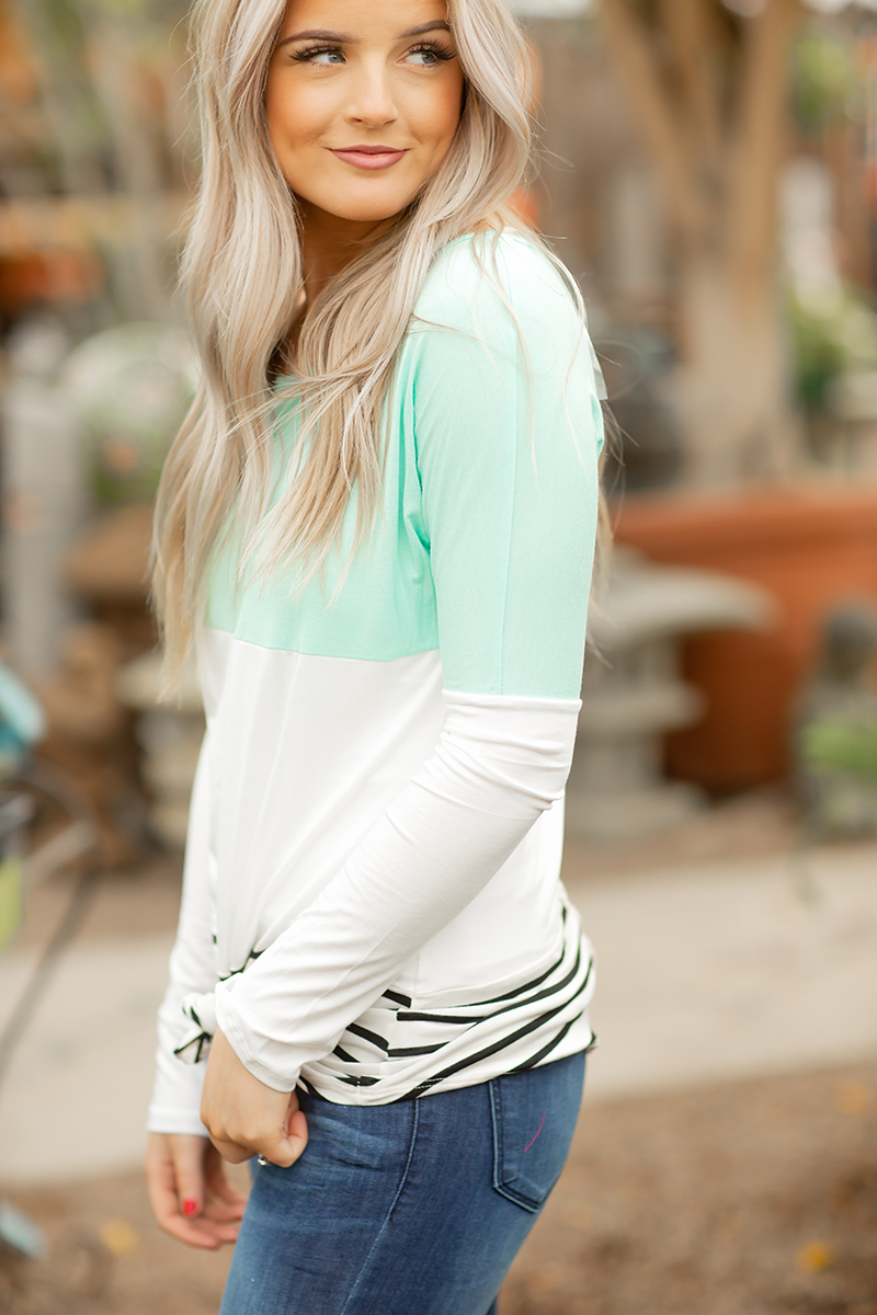 Play Date Striped Top in Mint with Lace