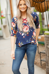Take A Look Navy Floral Criss Cross Top