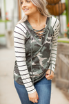 Crushing On You Criss Cross Top in Camo and Stripes