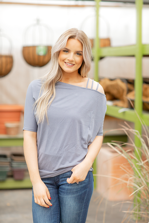 Be My Lover Cold Shoulder Top in Blue