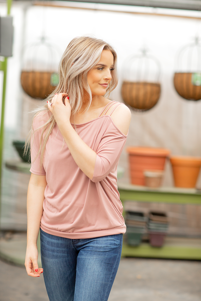 Be My Lover Shoulder Detailed Top in Blush