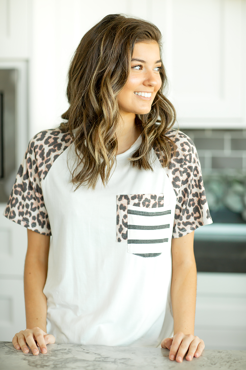 Hear Me Roar Animal Print Pocket Tee