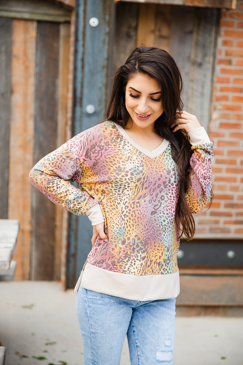 Party All Night Muli-color Animal Print Long Sleeve Top