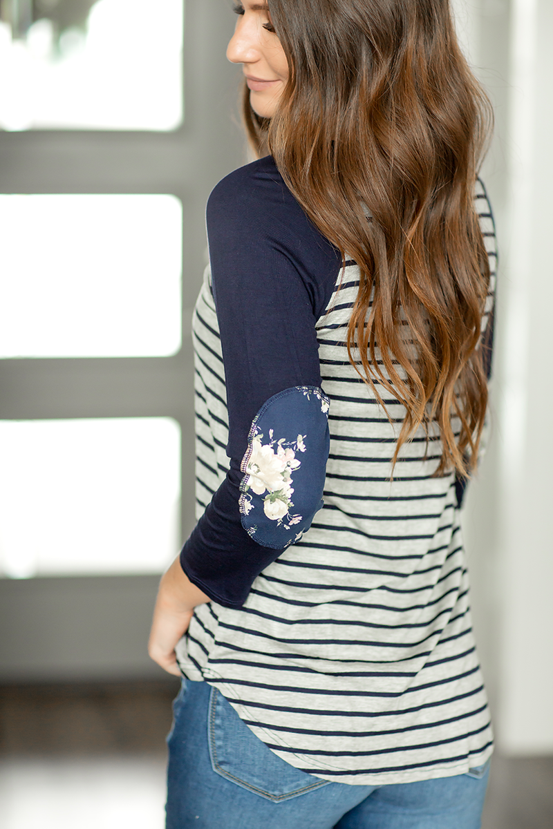 Best of Both Worlds Striped Top with Floral and Navy