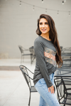 Time Marches On Charcoal and Camo Long Sleeve Top