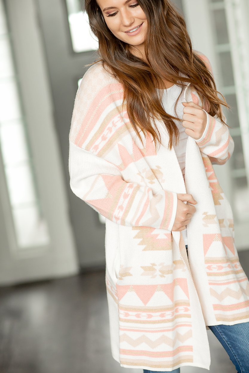 Keep It Fierce Cardigan in Peach Aztec