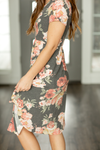First Kiss Floral Dress in Charcoal and Blush