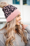CC Knit Pom Beanie in Pink, Black and Brown Animal Print