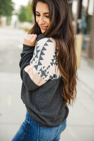 Whisper in the Wind Zip Up Color Block Sweater in Charcoal Aztec