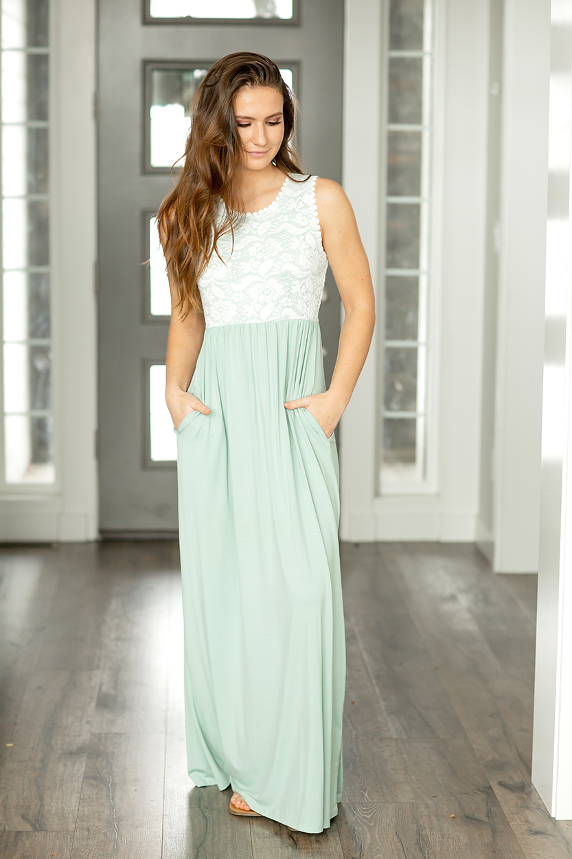 Honestly Yes Maxi Dress in Sage with Lace