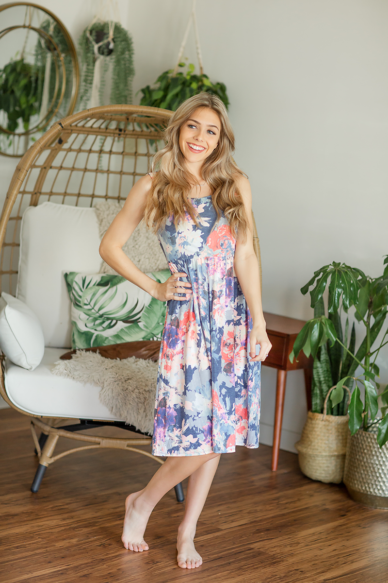 Most For You Navy Floral Dress