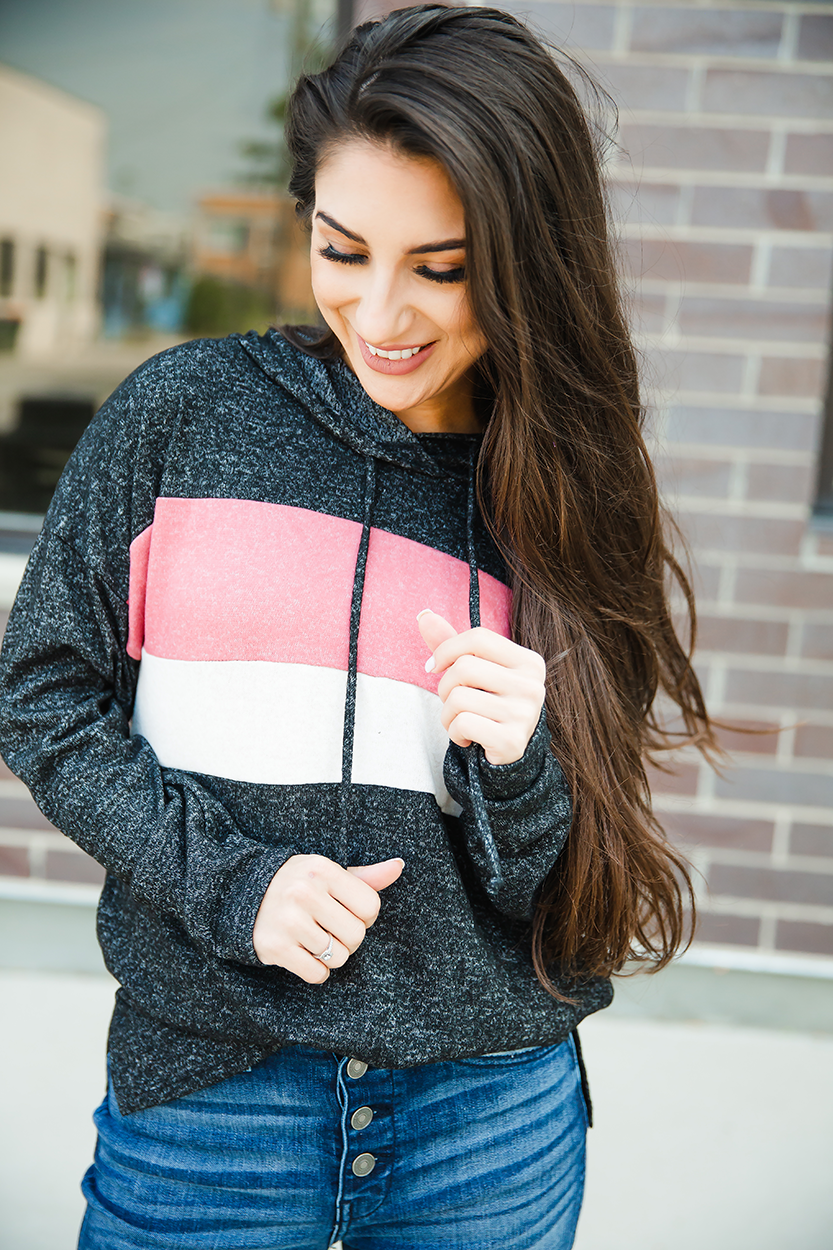 Be Happy Charcoal Hoodie with Mauve and Oatmeal Stripe