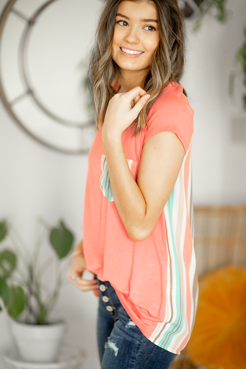 Sing It Multi Colored Striped Pocket Top