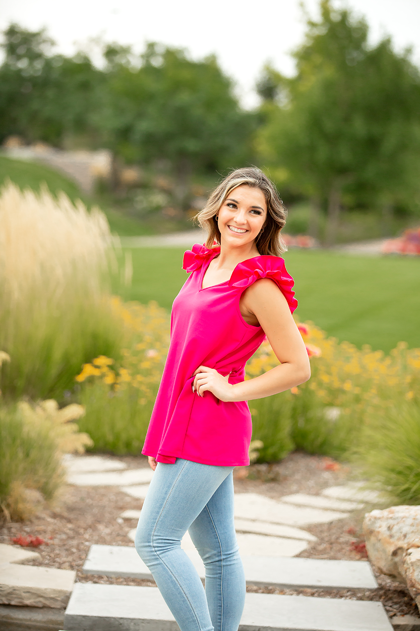 Expressions Fuchsia Tank with Ruffle Sleeves