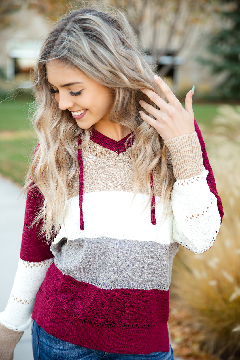 Painting the Town Striped Hoodie Sweater Burgundy, Oatmeal, and Gray (SALE)