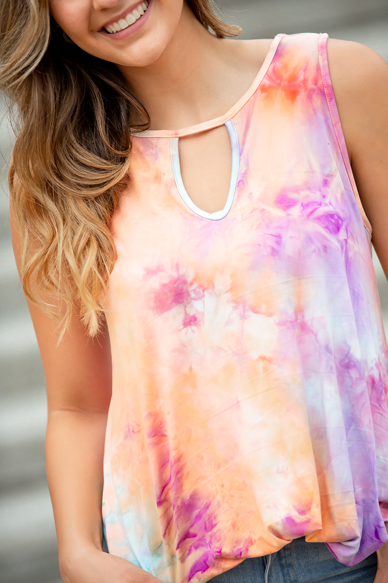 Loved By You Coral and Purple Tie Dye Tank