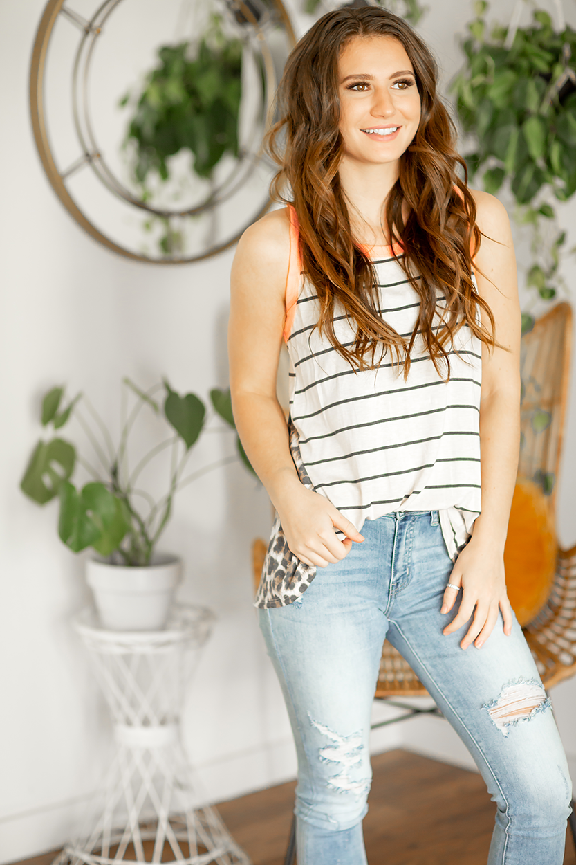 Busy Life Striped Tank in White with Animal Print