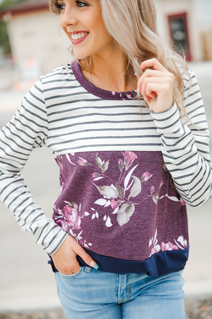 Lay Me Down Plum Floral Top with Navy Color Block and Stripes
