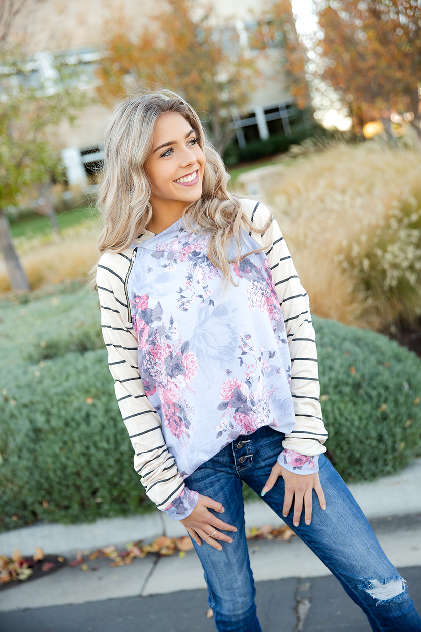 I Love You More Double Hooded Hoodie in Dusty Blue Floral and Charcoal Striped Sleeves
