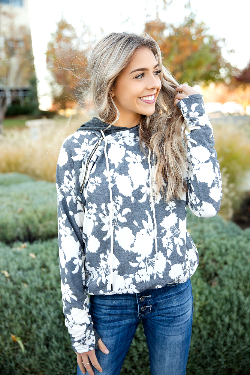 Feeling Fancy Double Hooded Hoodie in Charcoal Floral