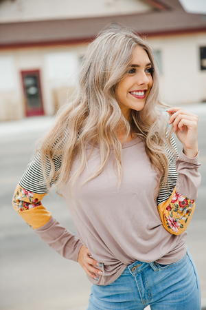 Good Neighbor Floral and  Striped Top in Taupe