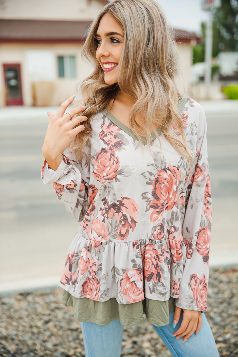 You're Worth It Olive Floral Top with Ruffle Detail (SALE)
