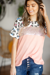 Keep Me Happy Animal Print Top with Sequins in Peach