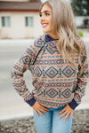 Tease Me With Your Love Aztec Hooded Top in Taupe and Navy