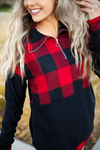 Leave Me Alone  Buffalo Plaid Hoodie with Quarter Zip and Black Sleeves