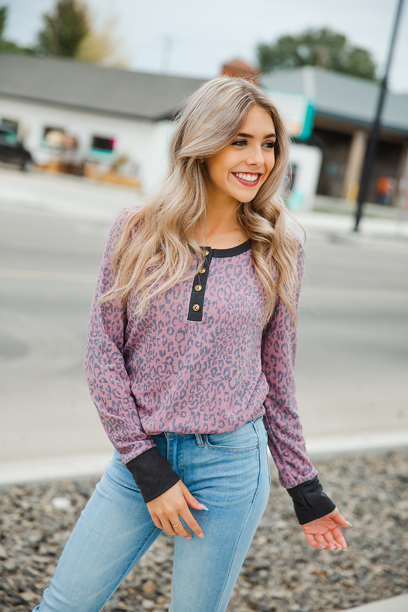 All You Really Need Dusty Rose Animal Print Long Sleeve Top