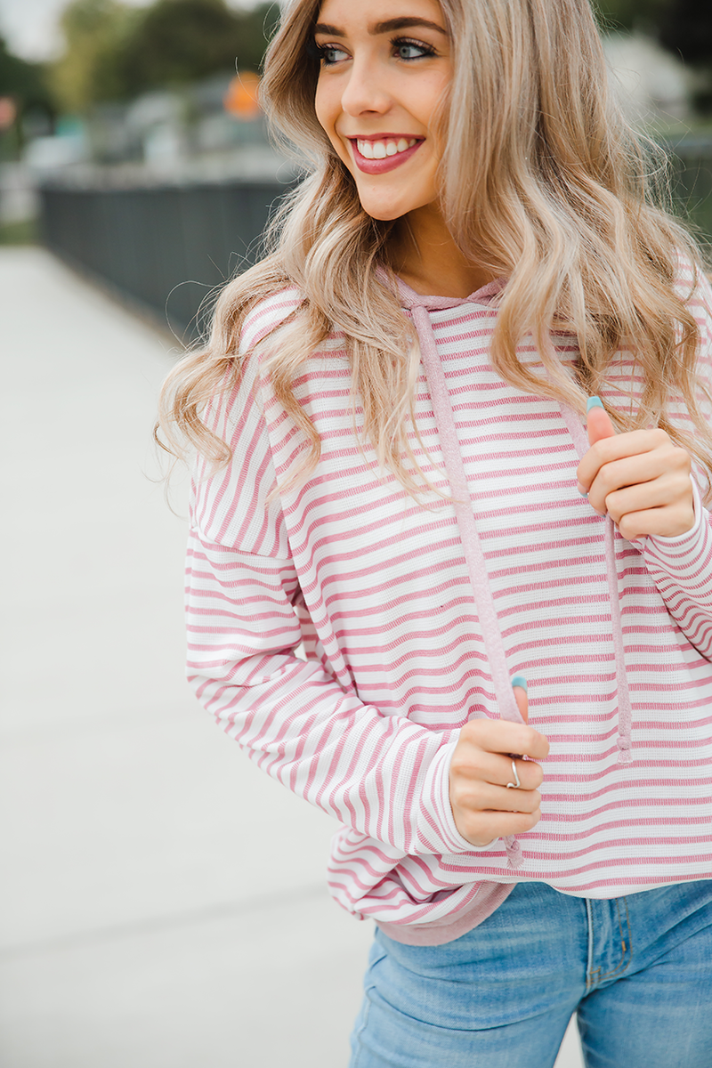 Gotta Let You Go Striped Hoodie in Mauve and Ivory