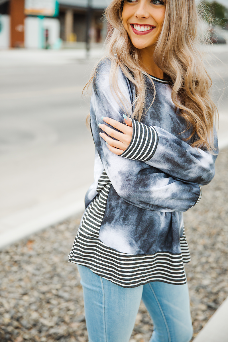 My Best Girl Black Tie Dye and Striped Long Sleeve Top