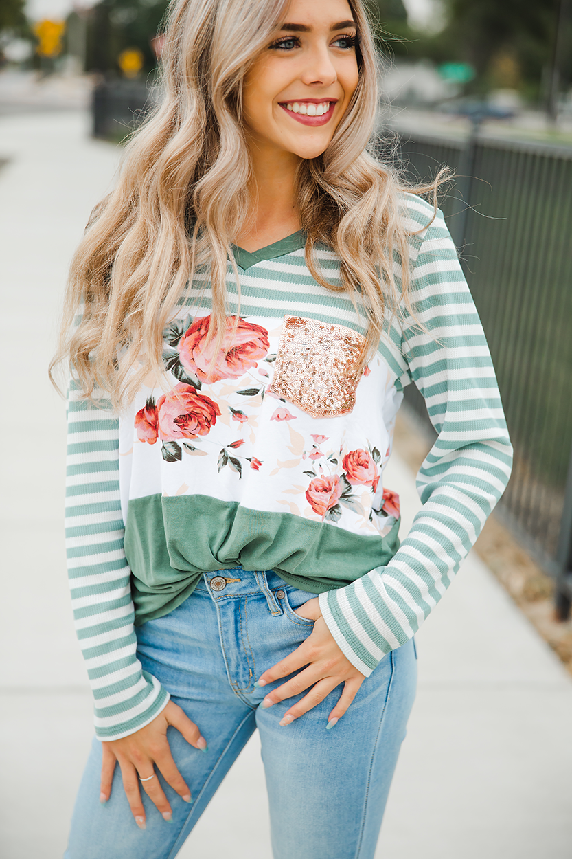 Feels Like Home Floral and Striped Sage Top