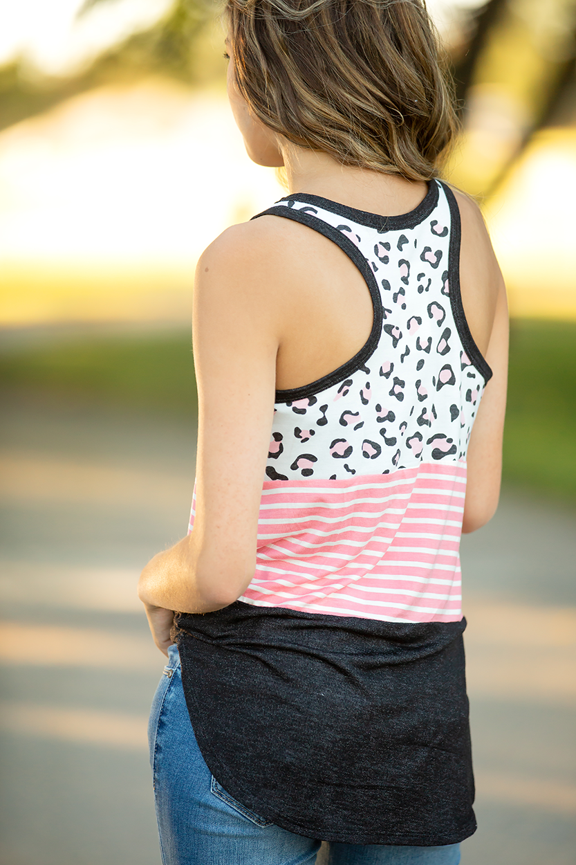 Just Like Me Pink Animal Print and Stripe Tank