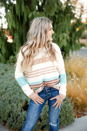 Pull Me Closer Striped Sweater in Cream, Mocha and Aqua
