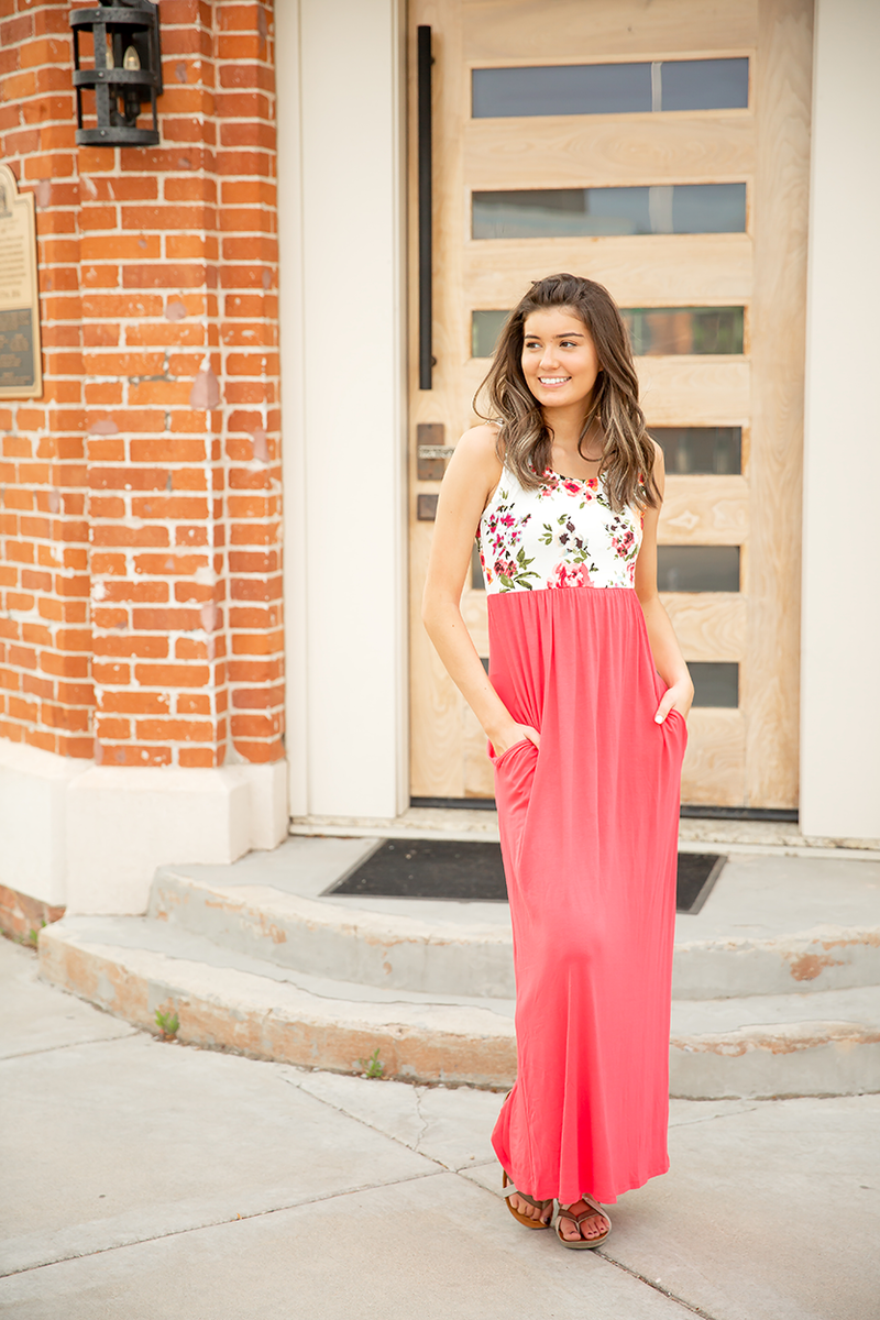 Just My Style Maxi Floral Dress in Coral