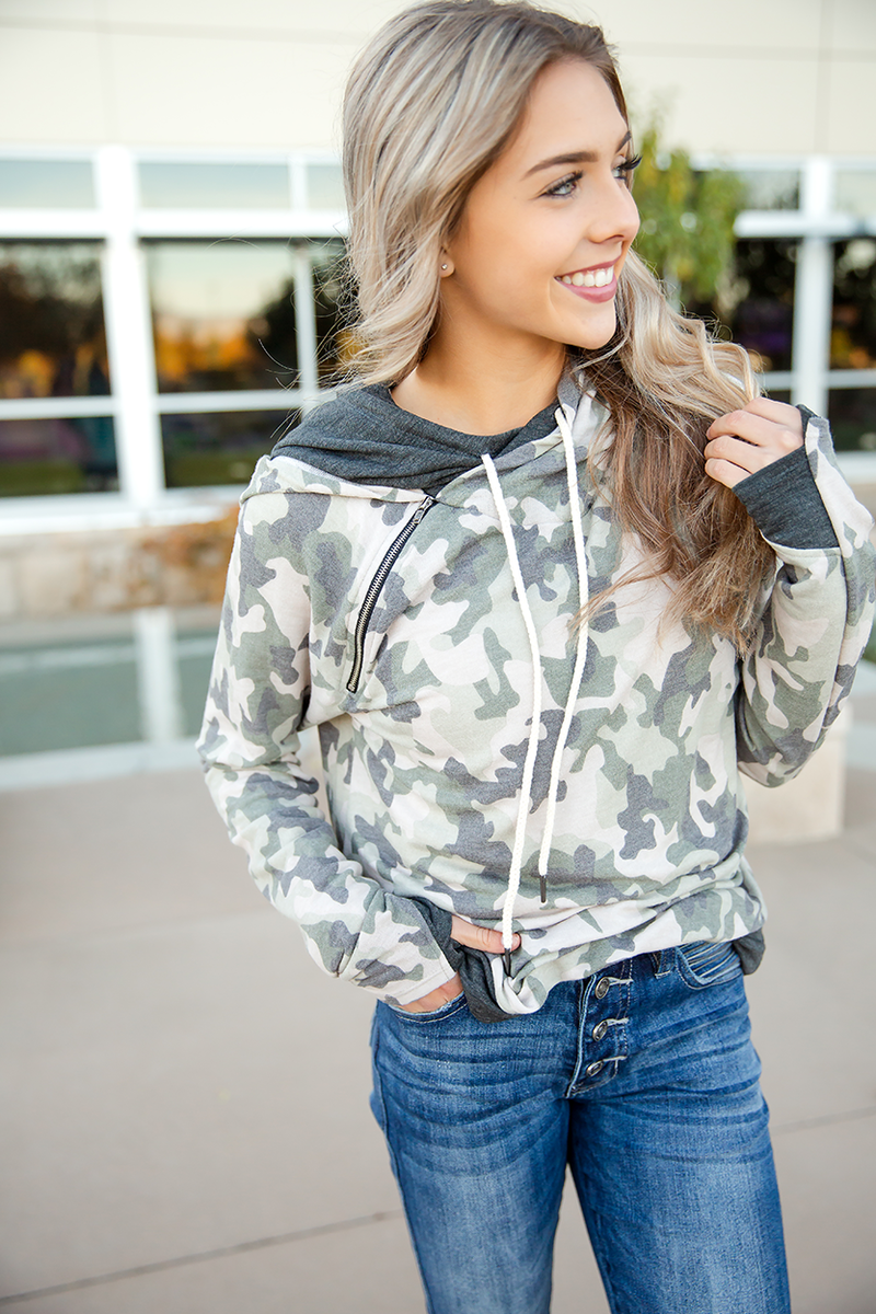 Make-up and Break-up Double Hooded Hoodie in Camo