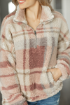 Getting Happy Quarter Zip Sherpa in Rose and Ivory Plaid