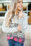 Rumors Striped Top with Animal Print, Stripes and Buffalo Plaid