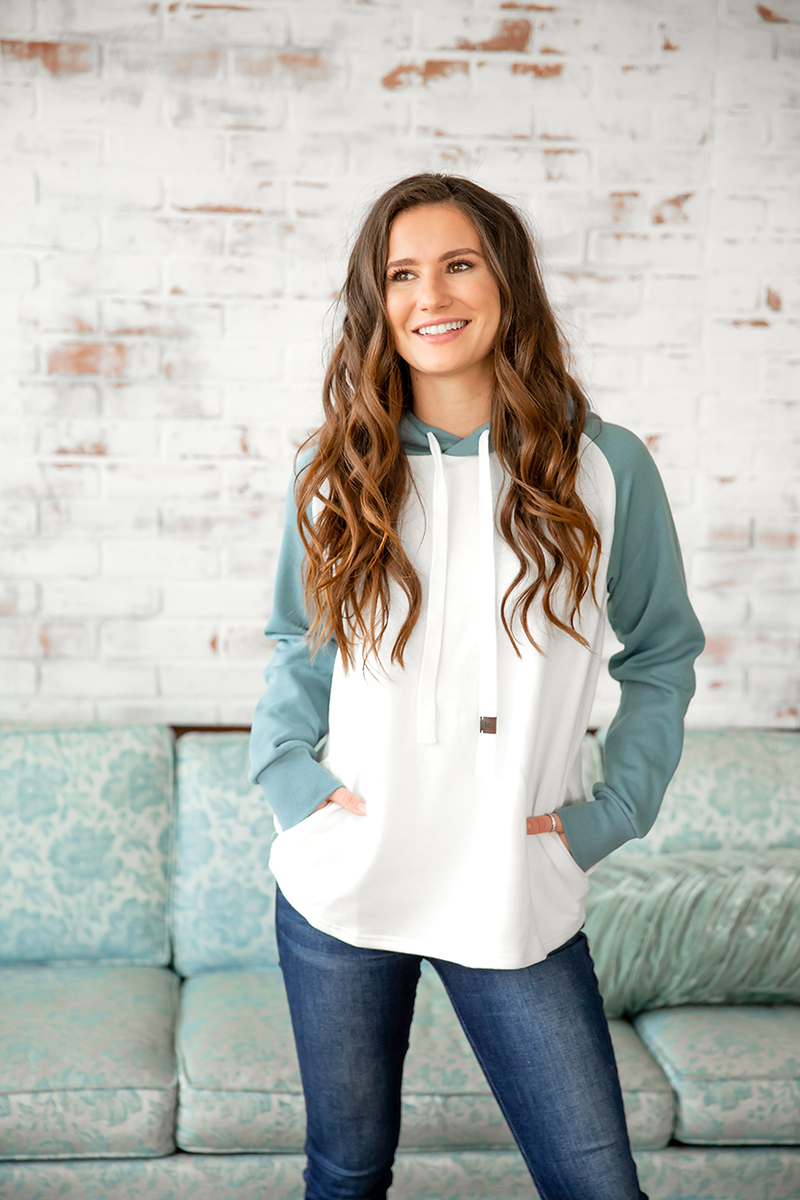 Keep It Simple Hoodie in Ivory and Teal